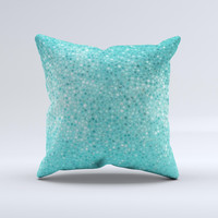 Turquoise Mosaic Tiled Ink-Fuzed Decorative Throw Pillow