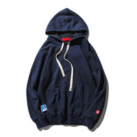 Hot Spring Autumn Boy Male Thin Comfortable Casual Solid Blue Color Men Brand New High Quality Cotton Fit Hip Hop Hoodie Dark Blue