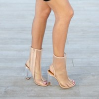 Hide Away Nude Mesh Lucite Booties