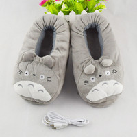 2016 Winter New USB Heating Pantufa Women Home Slippers Cotton Fabric Cartoon Kawaii Totoro Minion House Slippers Spa Slippers