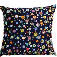 Amore Beaute Handcrafted Navy Blue Decorative Throw Pillow Cover with Colorful Bead Embroidery (NOT Print) - Navy Blue Accent Pillows with Red, Yellow, Blue, Green, Orange Beads - Contemporary Cushion Cover in Art Silk Dupion (18 X 18)