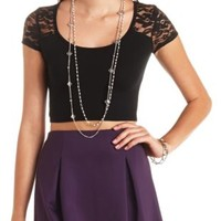 Cap Sleeve Lace Yoke Crop Top by Charlotte Russe