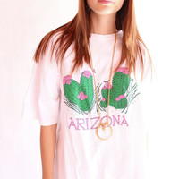 ARIZONA 80s Arizona State Novelty Barrel Cactus T Shirt