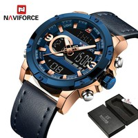 NAVIFORCE Men Watch Digital Sport Mens Watches Top Brand Luxury Military Army Leather Band Analog LED Quartz Male Clock Box 9097