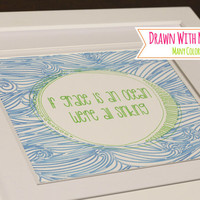 "Sharpie Gallery Art With Frame (Optional) ""If Grace Is An Ocean We're All Sinking"" Hymn Art, Framed Artwork, Gallery Wall"