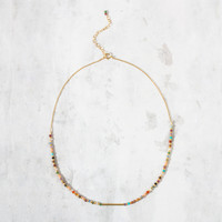 """""""Kitchen Sink"""" Bead Choker, Multi-Color with Gold 