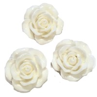 White flower resin cabochon 15mm / 1-5 pieces