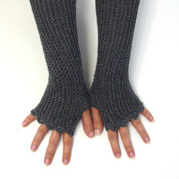 Dark grey fingerless mittens in acrylic, texting gloves, seamless handknit soft armwarmers, fingerless gloves, soft baby acrylic