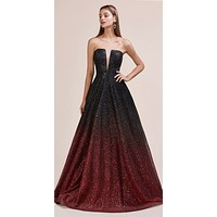 Black/Red Ombre Glitter Long Prom Dress Strapless