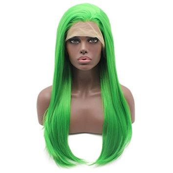 Iewig Long Straight Green Wig for Women Synthetic Lace Front Wig Heat Friendly Half Hand Tied Wig