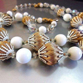 Japan Satin Fluted Gold & White Bead Necklace, Faceted Crystal, Double Strand, Vintage