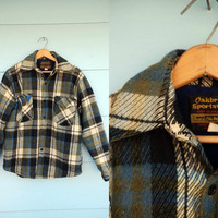 MENS. 1970s. forest green and sky blue plaid button up jacket. l