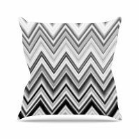 "Nika Martinez ""Seventies Chevron In BW"" Black Pattern Throw Pillow"