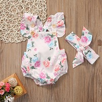 Cute Infant Baby Girls Romper+ heaband Floral Romper Summer baby Sunsuit Clothes Toddler Baby Roupas