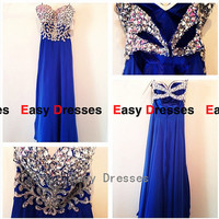 Blue dress Beads dress sequins  dress long  dress  Prom dress Bridesmaid dress    Fashion dress  Party  Evening Dresses 2014