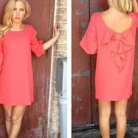 Red Long Sleeve Off the Shoulder Dress with Bow Back