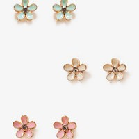Lacquered Flower Stud Set