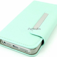 Mint leatherette wallet phone case for Apple iPhone 5 by ShopTrokm