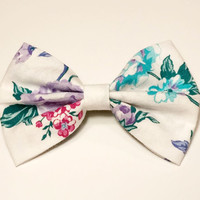 Vintage Flower Bow • Cotton Hair Bow • Teal Flower HairBow • Vintage Spring bow • Vintage Fabric • Gifts For Girls • Women's Fashion •Spring