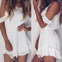 2017 European summer new sexy lace Strapless Jumpsuit solid sling