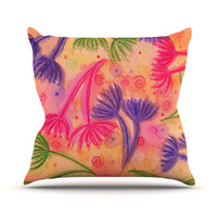 "Ebi Emporium ""Cow Parsley"" Throw Pillow"
