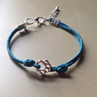 Teal Dog or Cat Paw Bracelet-Cotton Cord-Add Awareness Ribbon Charm-chain with tear drop charm-Polycystic Ovarian-Cancer-Anxiety-Tourette