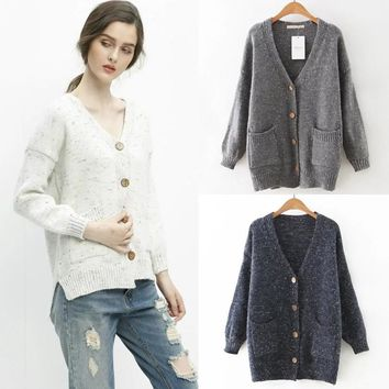 Autumn With Pocket Split Mixed-color Knit Sweater Jacket [8173488647]