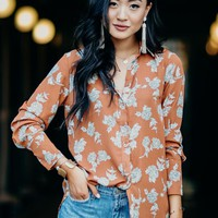 Isidore Floral Blouse in Rust