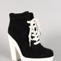 Qupid Faux Suede Lace Up Sneaker Bootie