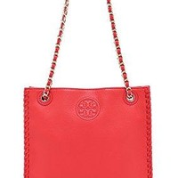 Tory Burch Marion North-South Leather Should Bag, Masaai Red