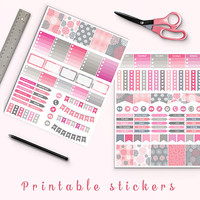 50% OFF Pink Dahlia Planner Stickers Printable Stickers Erin Condren Filofax Mambi Box Stickers Page Flags Weekend Banners To Do Stickers