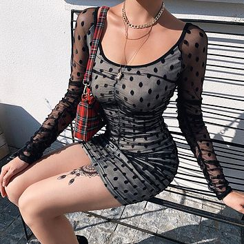 New sexy woman wave point Mosaic mesh silk temperament sexy square get step skirt