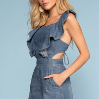 Torrence Tie-Back Denim Romper