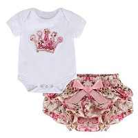 2PCS Infant Toddler Baby Girls Clothes Set Crown Romper Tops Floral Culotte Skirt Outfits Jumpsuit Shorts Pants