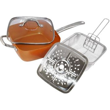 4PC Square Copper Cookware Set, 5-IN-1 Functions Copper Cooking Pan
