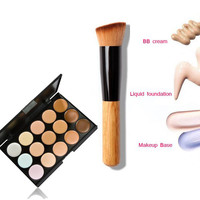 Concealer Contour Facial Makeup Cream + foundation kabuki powder contour brush for make up 15 Colors Primer Base