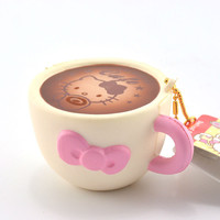 New Cute Hello Kitty Squishy Cafe Cup Soft Sweet Pink Bow Bread Cartoon Phone Straps Toy Ballchain with Tag 1PCS