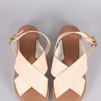 Qupid Cross Band Slingback Flat Sandal
