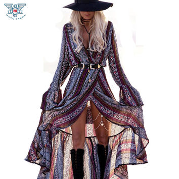 2017 Summer/Spring Bohemia Boho Print Long Beach Dresses Women V Neck Vintage Print Maxi Dress Beach Cardigan Sundress Cover Ups