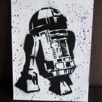 star wars gifts,star wars poster,R2D2 painting,original,star wars painting,star wars kids room decor,boys room,star wars decor,spray paint