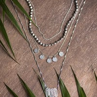 SILVER & QUARTZ - 4 pc Necklace Set - Dainty Silver Choker, Boho Chic, Clear Quartz Crystal, Summer Jewelry, Delicate Layered Necklace,