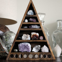 Moon Phase Large Crystal and Mineral collection in handmade wood-burned shelf