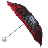 Sanrio Hello Kitty Girls Black and Red Collapsible Umbrella with 3D Handle