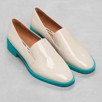 & Other Stories | Patent Leather Slippers | Light Grey