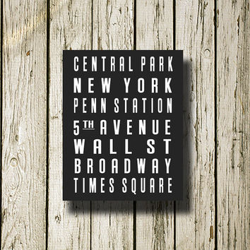 New York Subway Sign Printable Instant Download Print Poster City Name Art Typography Home Decor  Wall Decor S004