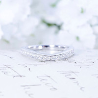 Curved Wedding Band - Art Deco Band - Sterling Silver Ring - Half Eternity Ring - Antique Style - Vintage Style Band