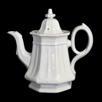 White Ironstone Teapot Coffee Pot French Country Decor TR Boote Staffordshire