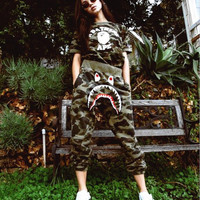 BAPE SHARK Fashion camouflage pants sport trousers harlan pants Sweethearts outfit
