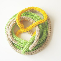 Fashion skinny scarf - extra long necklace - bright spring colors cotton - Natural, margarita green and lemon yellow