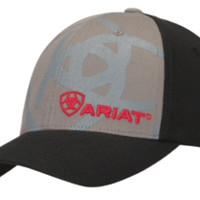 Ariat Shadow Flex Fit Logo Black Grey Cap
